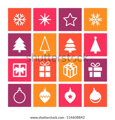 Christmas decorative symbols set. Flat vector seasonal icons for your design. - stock vector