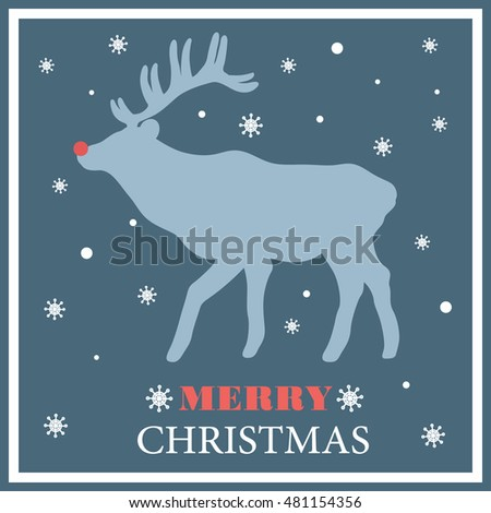 Christmas deer and congratulation background. Doodle backdrop with sketch object and text. Merry christmas, poster design. Illustration with deer silhouette, winter time