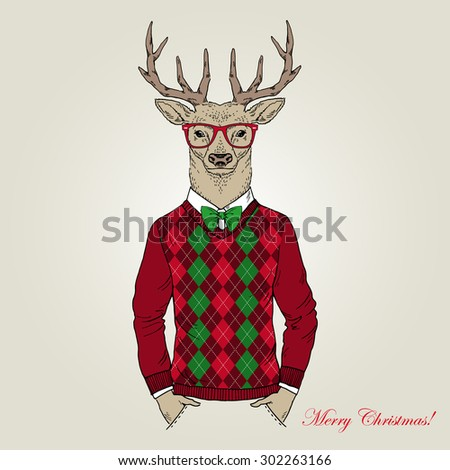 Christmas deer character, animal illustration, Merry Christmas and Happy New Year poster, hand drawn graphic, seasonal greeting card, furry art greeting character - stock vector