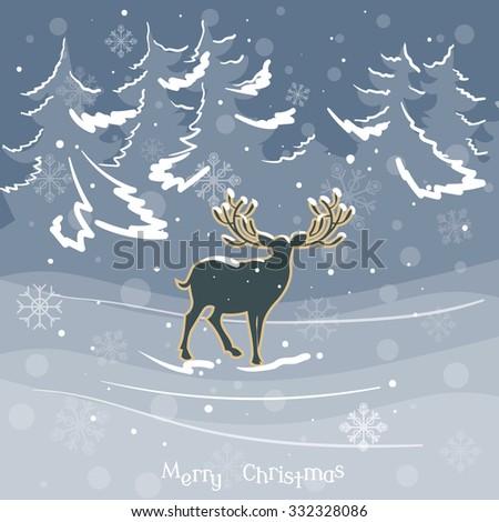 Christmas deer in winter forest vintage celebration vector illustration  - stock vector