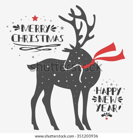 Christmas deer. Merry Christmas and Happy New year/ quote - stock vector
