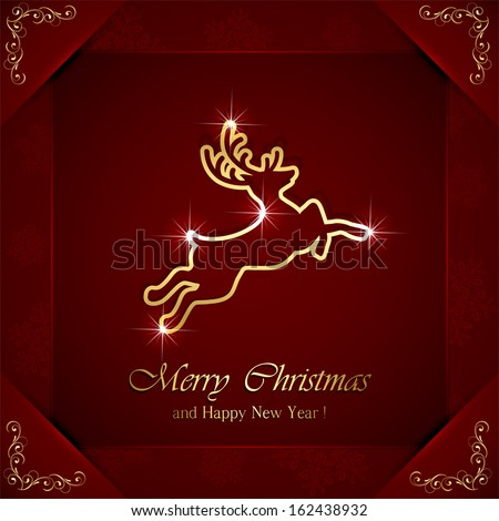 Christmas deer on red background with ornate elements, illustration. - stock vector