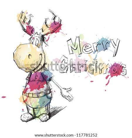 Christmas deer sketch vector illustration watercolor imitation - stock vector
