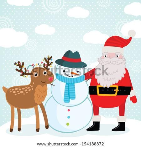 Christmas deer, snowman and Santa Claus illustration - stock vector