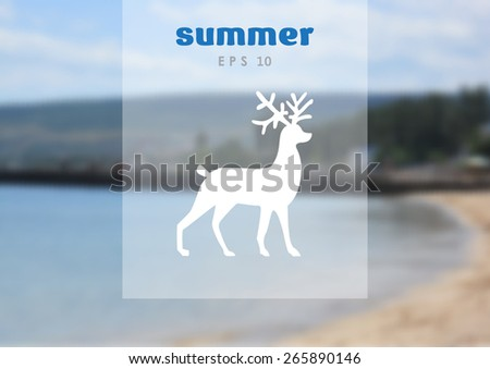 Christmas deer symbol, web icon. on blurred background vector design - stock vector