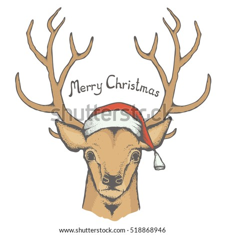 Christmas deer vector illustration. Reindeer head with horn and Santa hat. Inscription Merry Christmas