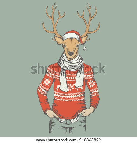 Christmas Deer vector illustration. Reindeer in human sweatshirt