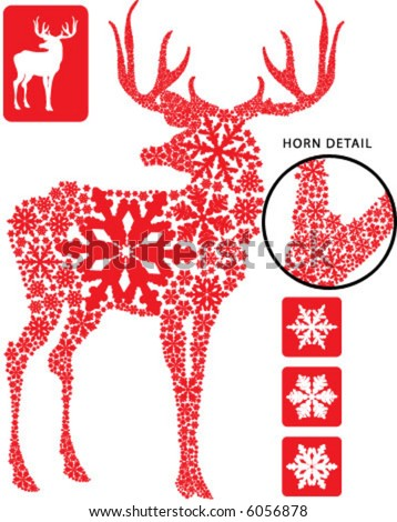 Christmas deer via 3 different snowflake - stock vector