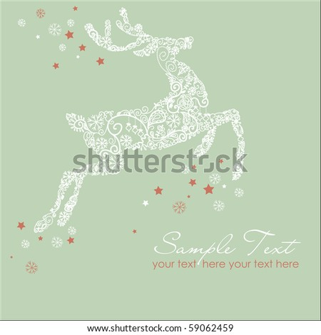 Christmas deer, Vintage vector illustration - stock vector