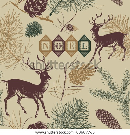 Christmas deer, Vintage vector seamless illustration - stock vector