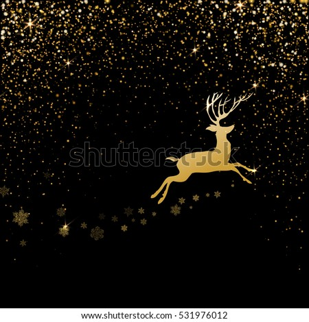 Christmas deer with Golden light effect. Burst light with golden sparkles. Vector illustration on black