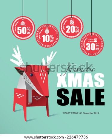 Christmas Deer with Sale tags - stock vector