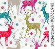 Christmas deers. seamless pattern - stock photo