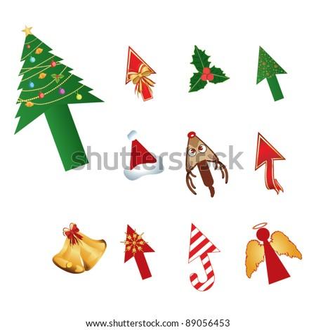 Christmas design cursors vector - stock vector