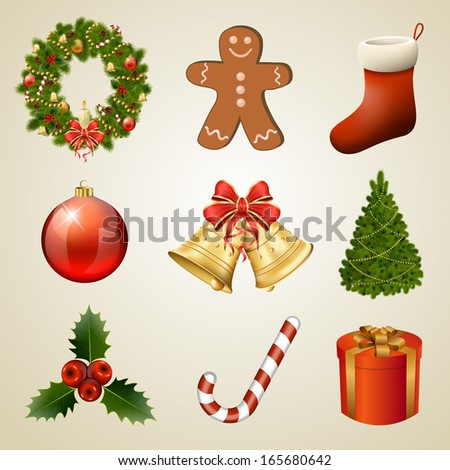 Christmas design elements and icons. Xmas decorations set. Vector eps10 illustration - stock vector