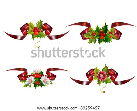 Christmas design elements made of holly and glossy banners - stock vector