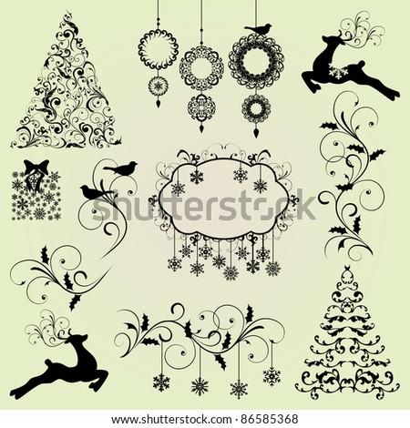 Christmas Design Elements Vector Set - stock vector