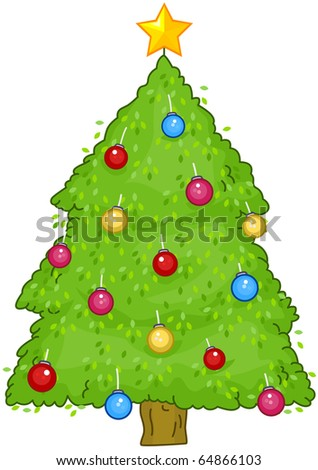 Christmas Design Featuring a Small Christmas Tree with Shiny Decorations - stock vector