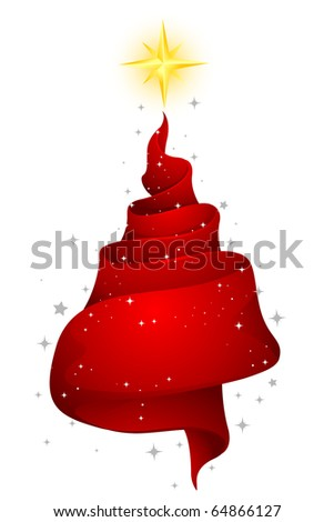 Christmas Design Featuring a Strip of Ribbon Shaped Like a Christmas Tree - stock vector