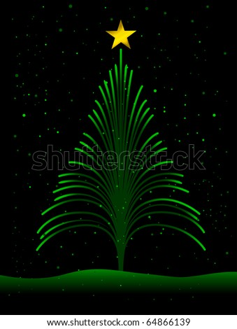 Christmas Design Featuring Fiber Optic Strands Shaped Like a Christmas Tree - stock vector