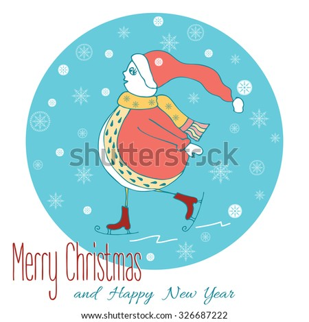 Christmas design for card with hand drawn snowman enjoying skating and snowflake in winter time. Happy New Year vector illustration - stock vector