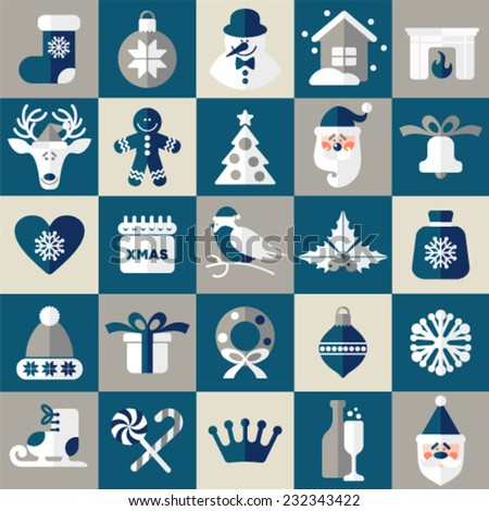 Christmas design icons set. Vector background.Seamless pattern of new year decoration. - stock vector