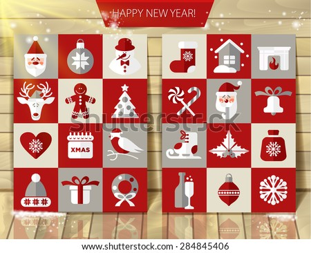 Christmas design icons set. Vector background.Seamless pattern on christmas decoration. - stock vector