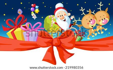 christmas design - Santa rides in a sleigh - stock vector