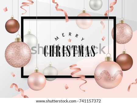 Christmas design template with christmas balls in rose gold theme