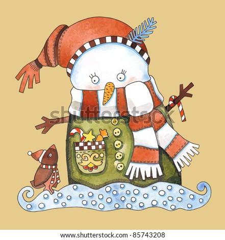 Christmas design. Watercolor snowman - stock vector