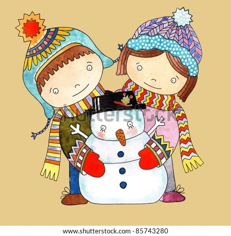 Christmas design. Watercolor snowman with boy and girl - stock vector