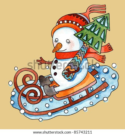 Christmas design. Watercolor snowman  with christmas tree in sledges - stock vector