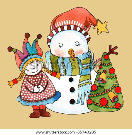 Christmas design. Watercolor snowman with girl and christmas tree - stock vector