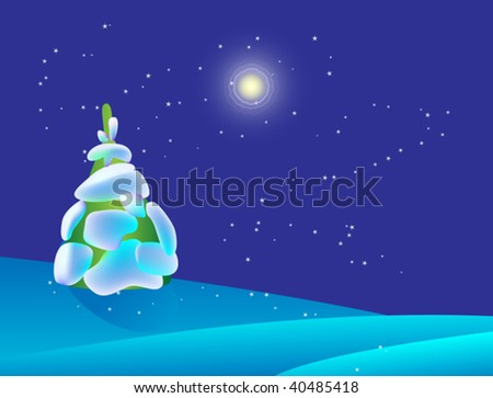 Christmas design with trees, moon and stars. Vector illustration contains meshes.