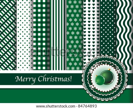 Christmas digital scrapbooking paper swatches in green and white with ribbon and Christmas baubles. EPS10 vector format.