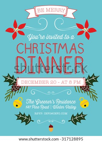 Christmas dinner invitation flyer on light stock vector hd royalty christmas dinner invitation or flyer on light blue background decorated with christmas elements vector stopboris Images
