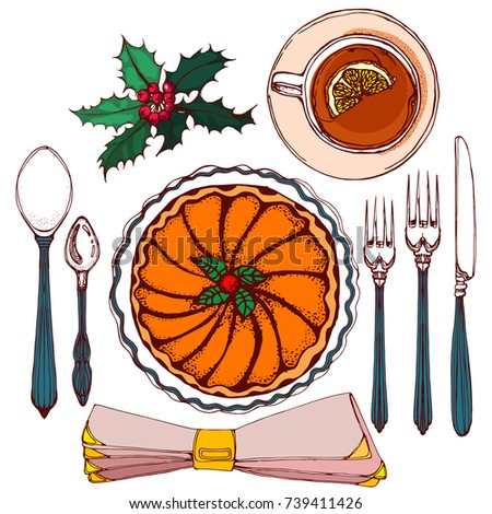 dinner plate with food clipart. christmas dinner vector illustration plate spoon fork knife serving with food clipart x
