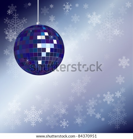 Christmas disco ball with snowflake background and space for your text. EPS10 vector format. - stock vector