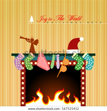 Christmas display on fireplace. Vector Illustration, EPS 10  - stock vector