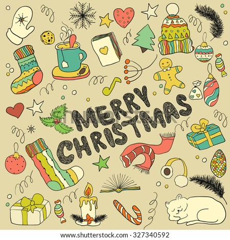 Christmas doodle collection, hand drawn new year elements.