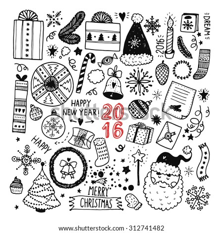 Christmas doodle collection, hand drawn new year elements for isolated on white background - stock vector