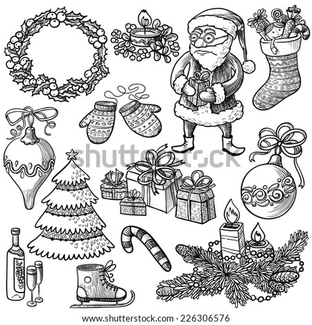 Christmas doodle decorations set - stock vector