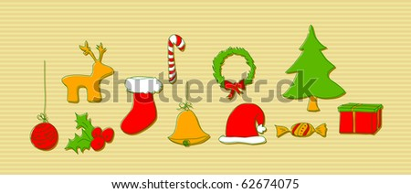 Christmas doodle elements - stock vector
