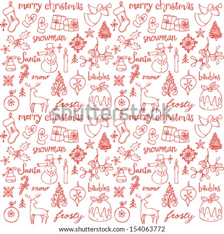 Christmas doodle icons seamless background - stock vector