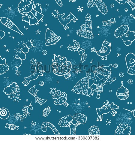 Christmas doodle seamless pattern  - stock vector