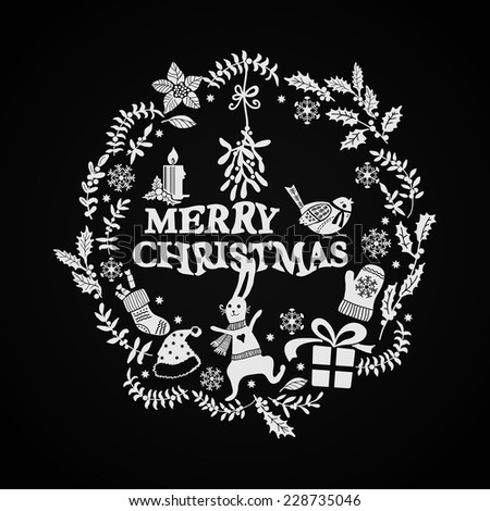 Christmas doodle wreath on a black background. Hand-drawing graphics. Elements for design of cards, invitations and other print projects. - stock vector