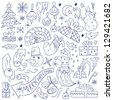 Christmas doodles - stock vector