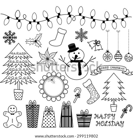 Christmas Doodles Collections. - stock vector