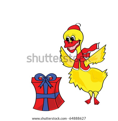 Christmas duck with present