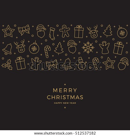 christmas element icons gold banner black background